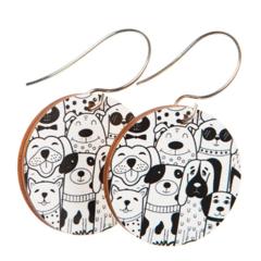 Sterling Silver & Wood Hook Earrings - Dog Earrings - Eco Gift Ideas