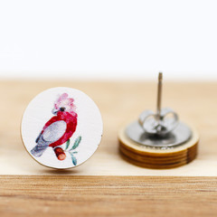 12mm Timber Stud Earrings - Pink Galah - Eco Gift Ideas