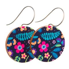 Sterling Silver & Wood Hook Earrings - Navy Flower Earrings - Eco Gift Ideas