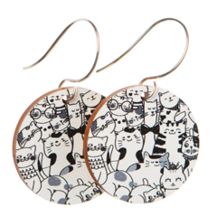 Sterling Silver & Wood Hook Earrings - Cat Print - Eco Gift Ideas