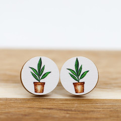 12mm Timber Stud Earrings - Fern Pot Plant - Eco Gift Ideas