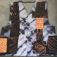 Mens' Terracotta / Black/ Pastel Linen Vest