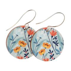 Sterling Silver & Wood Hook Earrings - Autumn Flowers - Eco Gift Ideas