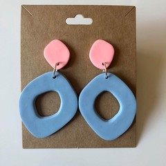 Peach and baby blue mix and match pastel dangles - polymer clay earrings
