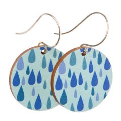 Sterling Silver & Wood Hook Earrings - Blue Rain Drops - Eco Gift Ideas