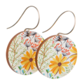 Sterling Silver & Wood Hook Earrings - Yellow Daisies - Eco Gift Ideas