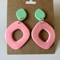 Mint green and peach mix and match pastel dangles - Polymer clay earrings