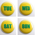 Days of the week 7 x 25 mm Red - Green - Green & Gold magnets