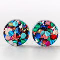 12mm Rainbow Glitter Acrylic Stud Earrings - Titanium Posts