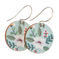 Sterling Silver & Wood Hook Earrings - Green Floral Print - Eco Gift Ideas