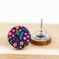12mm Timber Stud Earrings - Navy Floral Print - Eco Gift Ideas