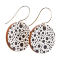 Sterling Silver & Wood Hook Earrings - Black & White Polka Dot - Eco Gift Ideas