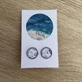 Amethyst Flower Glass Dome Earrings