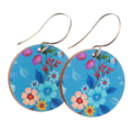Sterling Silver & Wood Hook Earrings - Blue Floral Print - Eco Gift Ideas
