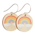Sterling Silver & Wood Hook Earrings - Rainbow Print - Eco Gift Ideas
