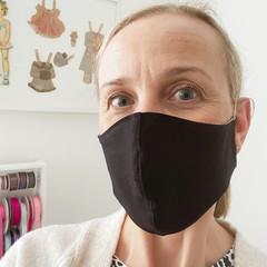 Cotton Face Mask ~ Black ~ 3 layers