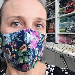 Cotton Face Mask ~ Blue Floral ~ 3 layers