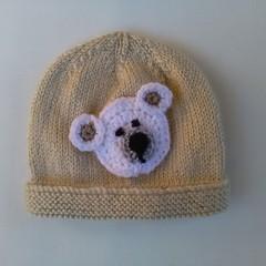 knitted baby boy hat, beanie -beige bear face size 0-3 months