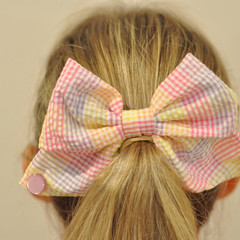 Pink/Purple Checkered Bow Ear Saver for Ear Loop Face Masks