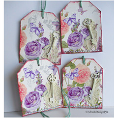 Mixed Media Vintage Tags with Keys