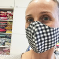 Cotton Face Mask ~ Gingham Black and White ~ 3 layers