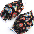 Fabric Face Mask - Russian Dolls with gold print on BLACK