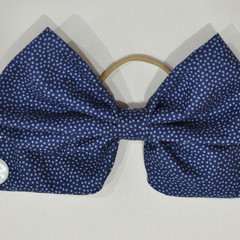 Navy Spotted Bow Ear Saver for Ear Loop Face Masks