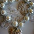 1x pearl  beaded bracelet & heart  silver tone charm bracelets