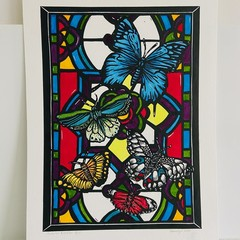 Australian Butterflies Stainglass 3/25 -  Linoprint - Watercolour
