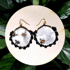 Small Round Bee Earrings
