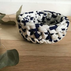 SMALL | crochet basket | essential oils | storage basket | NAVY AND WHITE