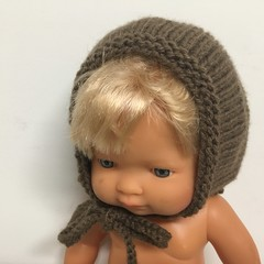 Knitted Bonnet to fit 38cm Miniland dolls Minikane dolls and Baby Alive dolls