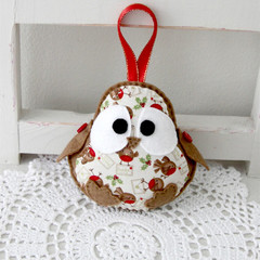 Christmas robin bird, beige, little birds, red, decoration