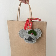 Sleepy koala gift tag, Christmas decoration, Australian animal, Aussie