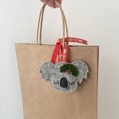 Sleepy koala gift tag, Christmas decoration, Australian animal, Aussie