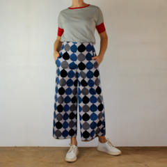 Blue, Black and Grey Raindrop Cropped Wide Leg Cotton Canvas Pants with Pockets,
