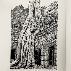 Ta Prohm - Siem Reap, Cambodia -  Edition of 25 -  Linoprint
