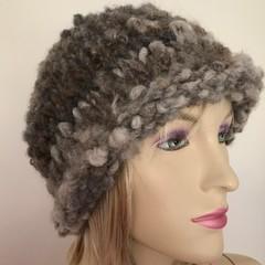 Handspun , handknit, Australian merino x natural wool beanie, men or women