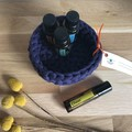 MEDIUM | crochet basket | essential oils | storage basket | EGGPLANT