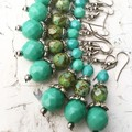 Opaque Turquoise Czech Crystal Glass Stack Hippy Earrings