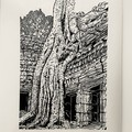 Ta Prohm - Siem Reap, Cambodia -  Edition of 25 -  Linoprint