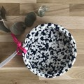 LARGE l crochet basket | essential oils | storage basket | NAVY & WHITE
