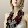 Goth Flower necklace, boho statement necklace, red black