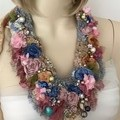 hand beaded boho textile flower fairy necklace