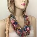 hand beaded boho textile flower necklace