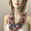hand beaded boho textile flower fairy necklace