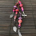 Pink & purple bag charms - Lanyard - Key ring - Boho style -Wood metal