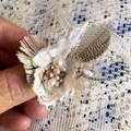 white boho feather bead ring, fairy ring