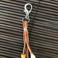 Orange, pink, cream bag charms - Lanyard - Key ring - Boho style - Wood