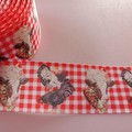 """1 1/2"""" wide red checked farm cow and chicken grosgrain ribbon"""